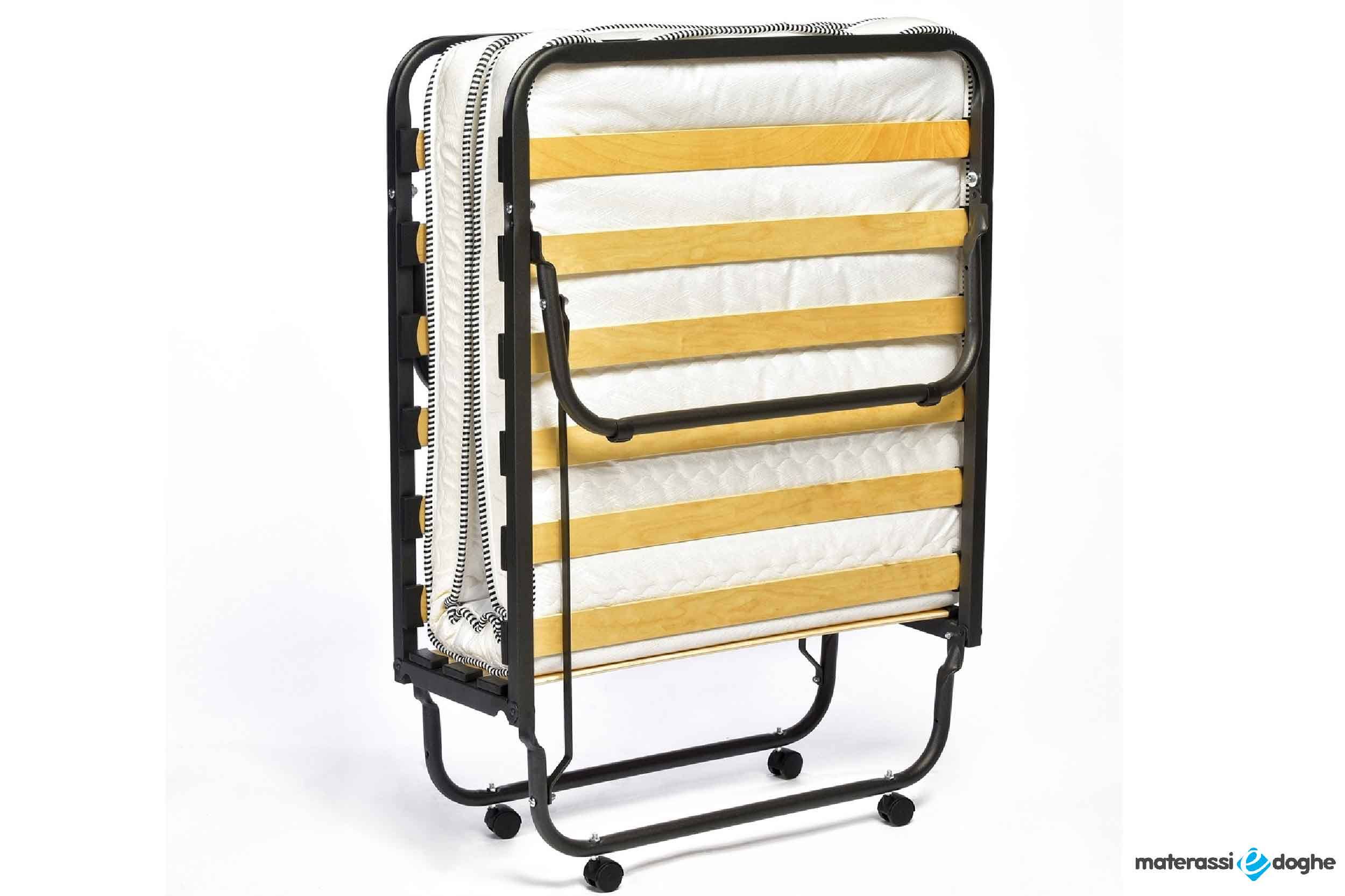 Orthopedic Wood Slatted Folding Bed With Wheels Including H.11 Cm Mattress In Waterfoam