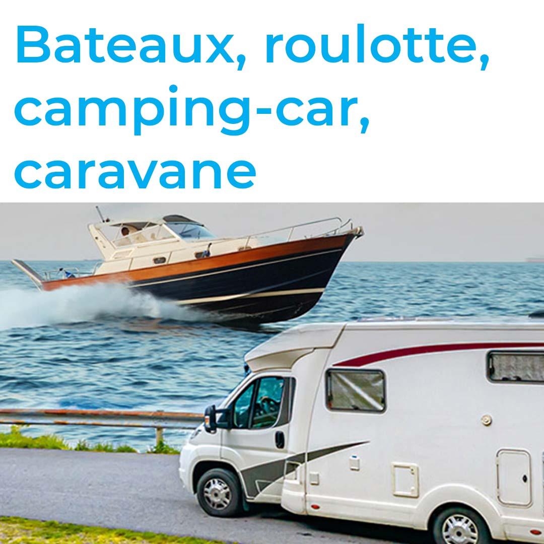 Bateaux, roulotte, camping-car, caravane