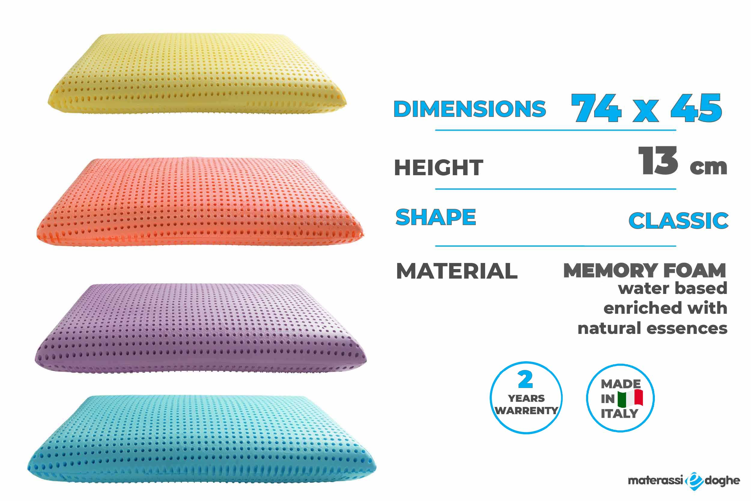 Water Based Memory Foam Pillow Enriched With Natural Essences Highly Breathable Materassi E Doghe
